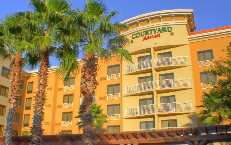 Palm trees in front of the Courtyard Hotel on Grand Boulevard in Sandestin