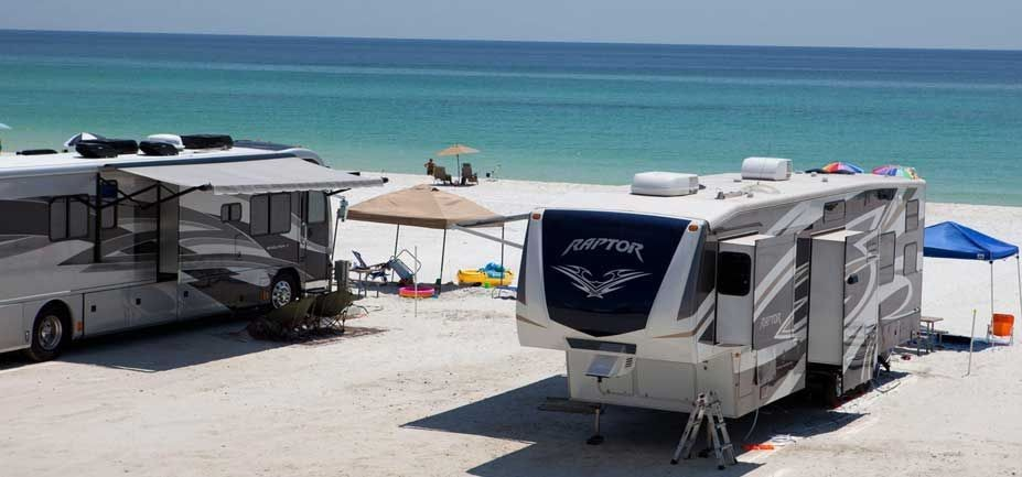 RV's parked in front of the beach on The Gulf of Mexico